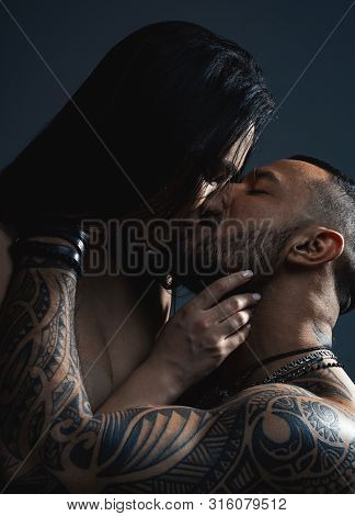 Young Lovers. Passionate Man Gently Kissing Beautiful Woman. Sexy Couple In Love. Love And Romance.