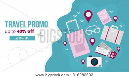 Travel Promo Banner Vector Illustration. Webpage Template With Profitable Proposition Of Discount Up