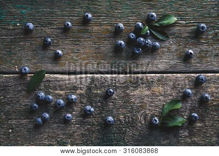 Blueberries On Vintage Wooden Background Top View, Healthy Food On Dark Table Mockup, Berry For Smoo