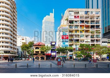 Ho Chi Minh, Vietnam - March 08, 2018: Ho Chi Minh City Skyline. Ho Chi Minh Is The Largest City In