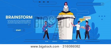 Landing Page With Group Of People. Team Work. Man Holding Giant  Magnifying Glass. Young Girl Woman