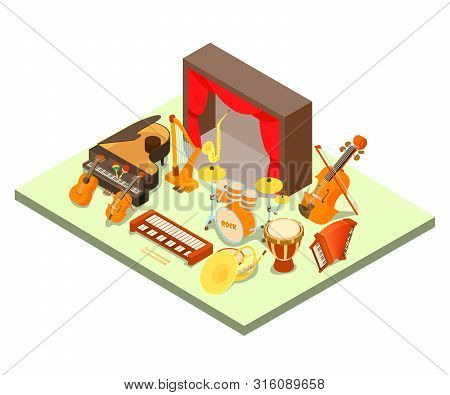 Philharmonic Concept Banner. Isometric Banner Of Philharmonic Vector Concept For Web, Giftcard And P