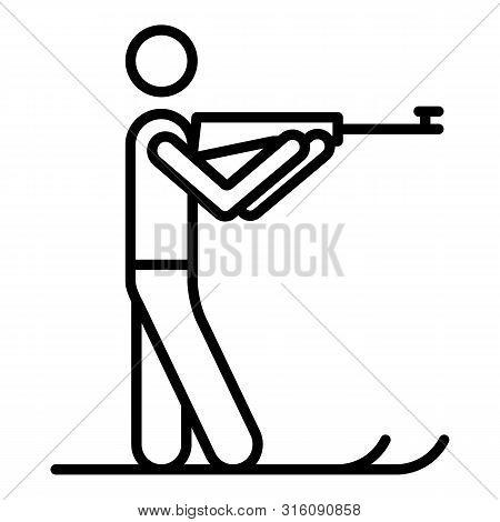 Biathlon Shooter Icon. Outline Biathlon Shooter Vector Icon For Web Design Isolated On White Backgro