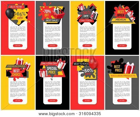 Best Offer And Premium Products Off Prices Banners Set Vector. Balloon And Presents, Promotional Pro