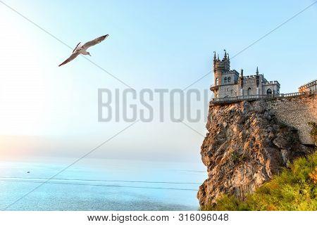 Beautiful Swallow Nest Castle On The Rock By The Black Sea, Crimea, Ukraine