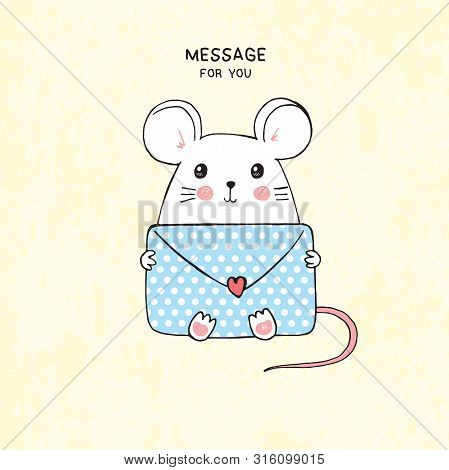 Vector Hand Drawn Illustration Of Cute White Mouse With Polka Dot Envelope, Lettering Message For Yo