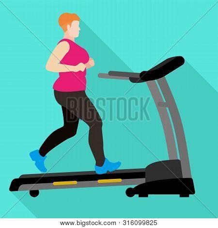 Fat Woman Treadmill Icon. Flat Illustration Of Fat Woman Treadmill Vector Icon For Web Design