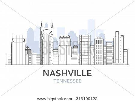 Nashville City Skyline, Tennessee - Cityscape Of Nashville, Skyline Of Downtown, Lineart