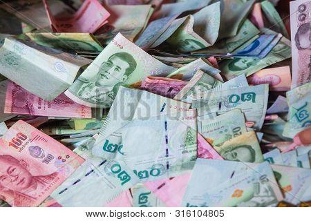 Thai Money, Thai Baht In Donetion Box, All Bill Thai Baht Banknote Background.