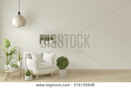 Poster Mock Up Living Room Interior With Armchair Sofa On Room Design Minimal Design. 3D Rendering