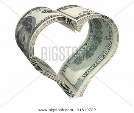 Heart Made Of Few Dollar Papers