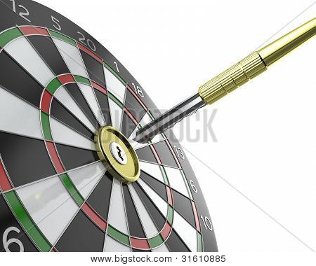 Dartboard With Keyhole In Center With Key On Arrow