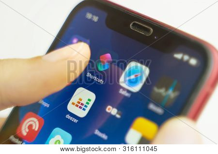 Bishkek, Kyrgyzstan - July 6 2019: Shortcuts Mobile App On The Display Of Iphone. Shortcuts Mobile A