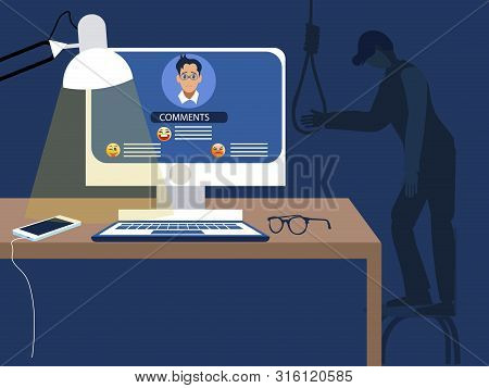 Internet troll. The consequences of the humiliation of social networks, negative reviews lead to suicide. flat vector poster