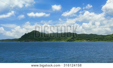 Beautiful View Of Green Mountain And Clouds In The Tropical Island Of Taiwan. Beauty Landscape With