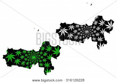 Central Java (subdivisions Of Indonesia, Provinces Of Indonesia) Map Is Designed Cannabis Leaf Green