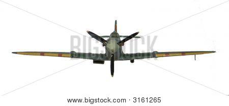 Spitfire Model Plane In Flight
