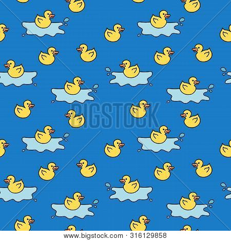 Yellow Rubber Ducky Bath Toy. Doodle Style Seamless Texture.