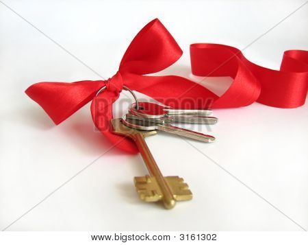 House Keys With Red Ribbon