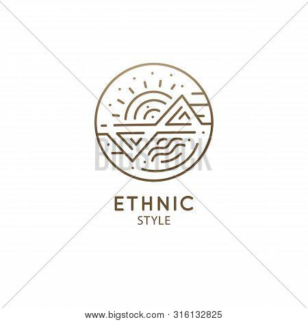 Esoteric Geometric Logo. Linear Round Icon With Geometric Shapes On White Background. Vector Abstrac