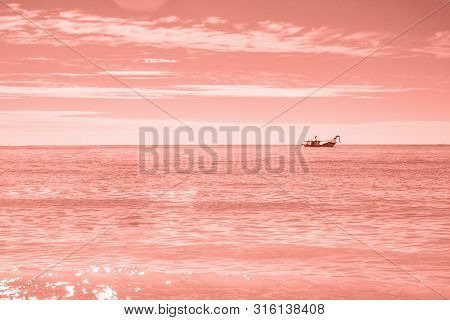 Fishermans Boat In Open Sea Waters At Morning To Sunrise