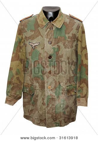 Camouflaged combat uniform. WW11 Luftwaffe camouflage jacket as used by ground combat troops poster