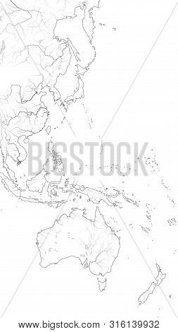 World Map Of The Pacific Ocean West Coastline: Australasia, Indonesia, Micronesia, Polynesia (asia-p