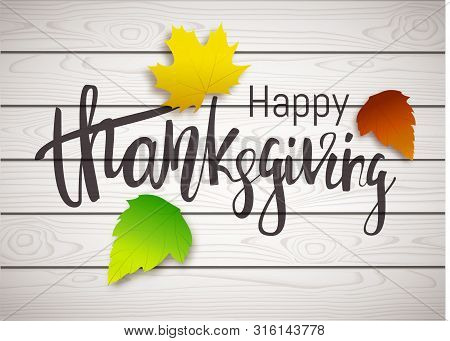 Thanksgiving Day Banner With Autumn Leaves. Vector Background
