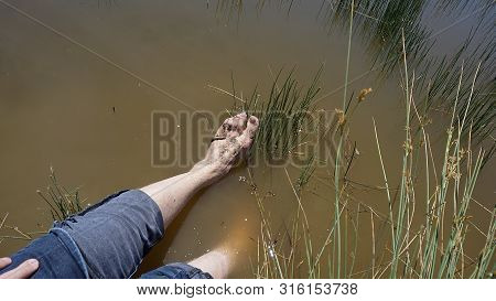 Natural Leech Therapy, People Doing Leech Therapy In The Lake,