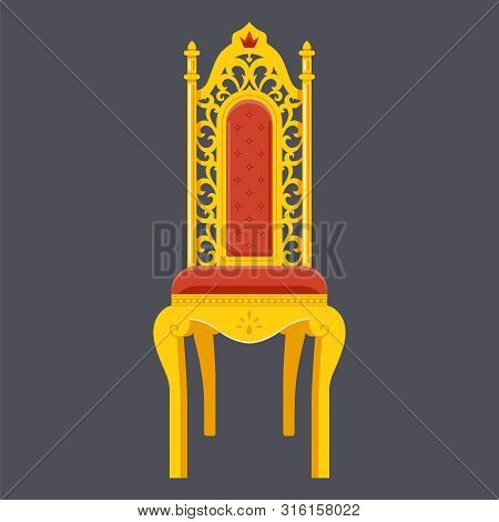 Golden Chair. Majestic Throne. Flat Object Vector Illustration.