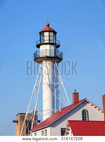 Whitefish Point Lighthouse On The Shores Of Lake Superior In Upper Peninsula Of Michigan