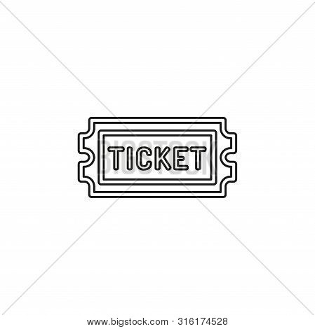 Movie Ticket. Vector Admit One Illustration, Admission Pass Icon. Thin Line Pictogram - Outline Edit