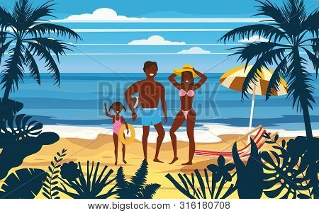 Happy Family On Summer Vacation Beach. Father Mother And Daughter Enjoying Beach Vacation Walking On