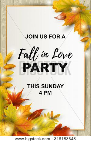 Autumn Background With Falling Leaves On Wood Background. Place For Text. Great For Bridal Shower, P