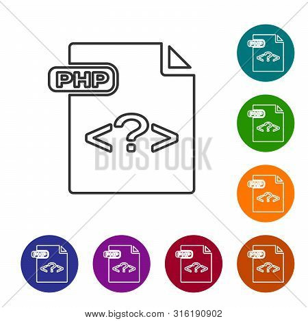 Grey Line Php File Document. Download Php Button Icon Isolated On White Background. Php File Symbol.