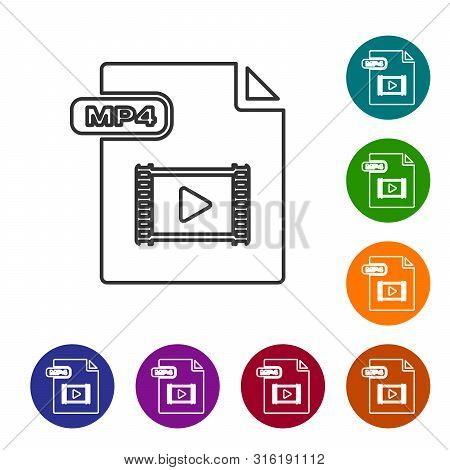 Grey Line Mp4 File Document. Download Mp4 Button Icon Isolated On White Background. Mp4 File Symbol.