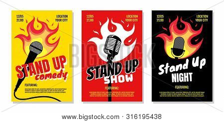 Stand Up Club Comedy Night Live Show A3 A4 Poster Design Templates. Retro Mike With Fire On Yellow R