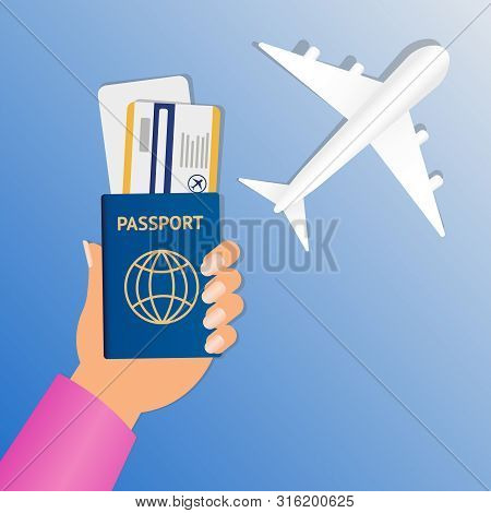 Hand Of Stewardess With Passport And Air Ticket On Round Blue Background. Business Hand Holding Pass