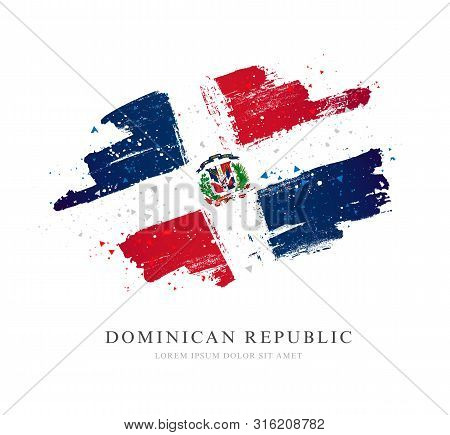 Flag Of The Dominican Republic. Vector Illustration On A White Background. Brush Strokes Are Drawn B