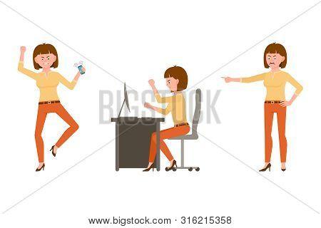 Nervous, Aggressive, Brown Hair Office Worker In Orange Pants Vector Illustration. Pointing Finger,