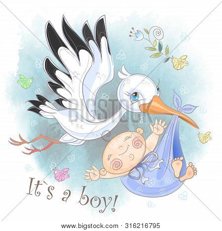 Stork Flies With Baby Boy. Baby Shower. Postcard For The Birth Of A Baby. Vector. Watercolor