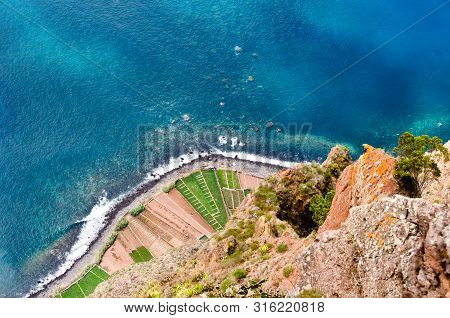 Singular View From The Skywalk At The Steep Coast Cabo Girao, Madeira, Portugal, Europe, 580metres D