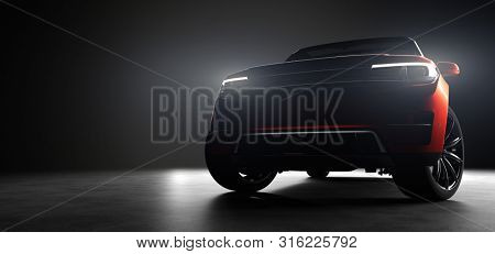 Modern red SUV car in garage with lights turned on. Front view. 3D illustration. Generic brandless contemporary vehicle.