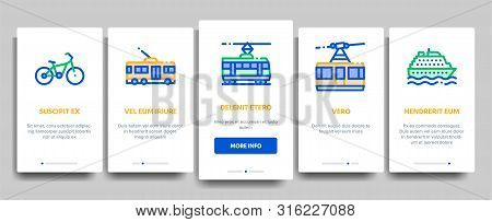 Collection Public Transport Vector Onboarding Mobile App Page Screen. Trolleybus And Bus, Tramway An