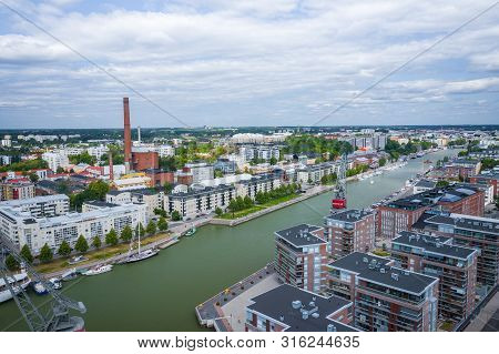 Turku, Finland - August 02,2019: Aerial View Of City Of Turku. Photo Made By Drone From Above. Finla