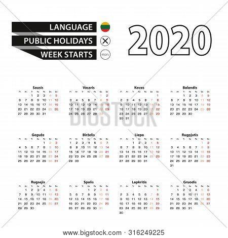 Calendar 2020 In Lithuanian Language, Week Starts On Monday. Vector Calendar 2020 Year.
