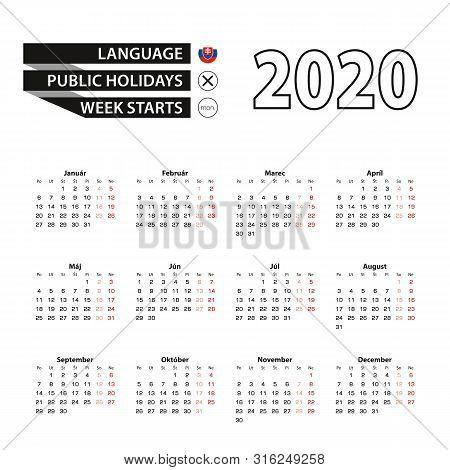 Calendar 2020 In Slovak Language, Week Starts On Monday. Vector Calendar 2020 Year.