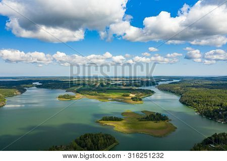 Aerial View Of Aland Islands At Summer Time. Finland. The Archipelago. Photo Made By Drone From Abov