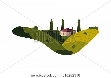 Vineyard Wine Grapes Hills Farm Banner Concept Sign. Romantic Rural Landscape In Sunny Day With Vill