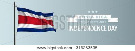 Costa Rica Happy Independence Day Greeting Card, Banner Vector Illustration. Costa Rican National Ho